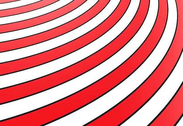 Rode en witte ronde strepen in perspectiefachtergrond