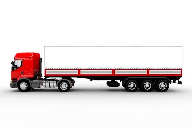 Rode en witte vrachtwagen