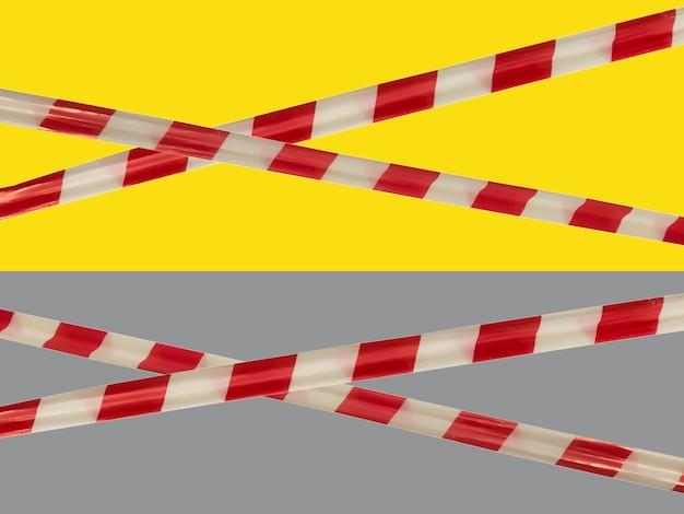 Rode en witte waarschuwingslijnen van barrièretape verbieden doorgang. barrière op geel en grijs geïsoleerd. kruis dat het verkeer verbiedt. waarschuwing onveilig gebied niet betreden. concept geen toegang. ruimte kopiëren