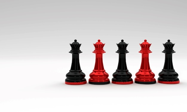 Rode en zwarte schaken koning en koningin stukken