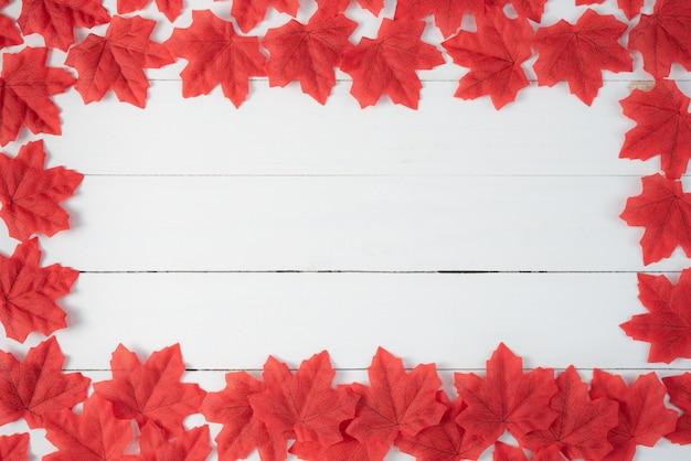 Rode esdoornbladeren op wit hout