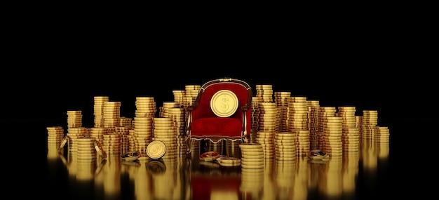 Rode fauteuil met gouden dollarmunt bovenop zijn omgeven door stapmunten.