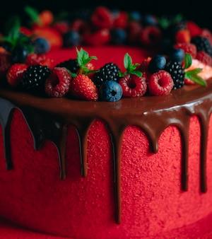 Rode fluwelen zomerfruitcake.
