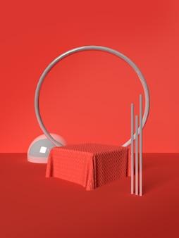 Rode frame en balscène met geometrische vormen in 3d-rendering premium