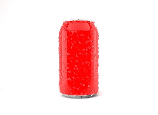 Rode frisdrankblikje met geïsoleerde druppels