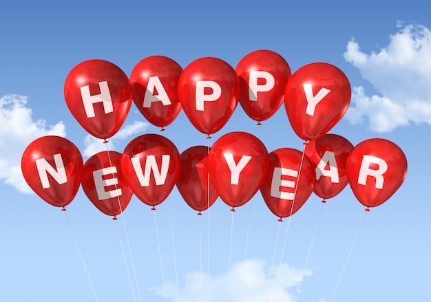 Rode gelukkige nieuwe jaar ballonnen geïsoleerd op een blauwe hemel