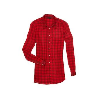 Rode geruite blouse. modieus begrip. geïsoleerd. wit oppervlak