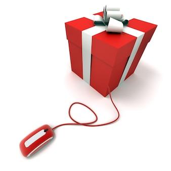 Rode geschenkdoos aangesloten op een muis