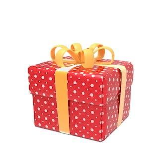 Rode geschenkdoos met geel lint geïsoleerd op wit