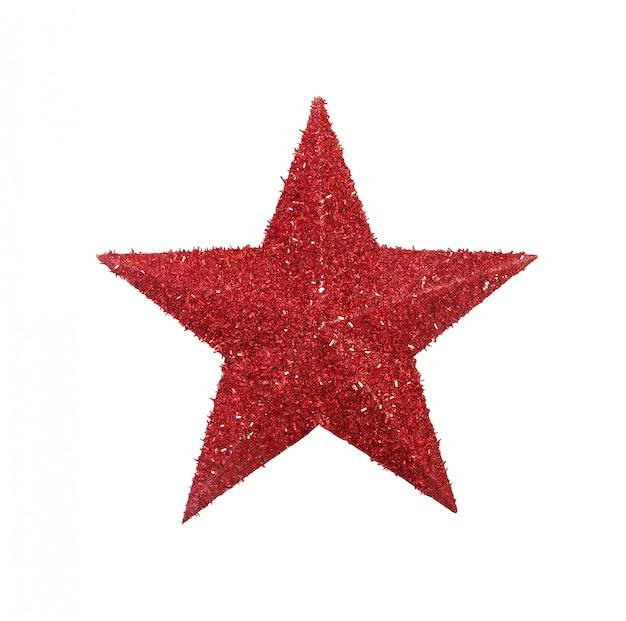 Rode glinsterende ster symbool geïsoleerd op een witte achtergrond.