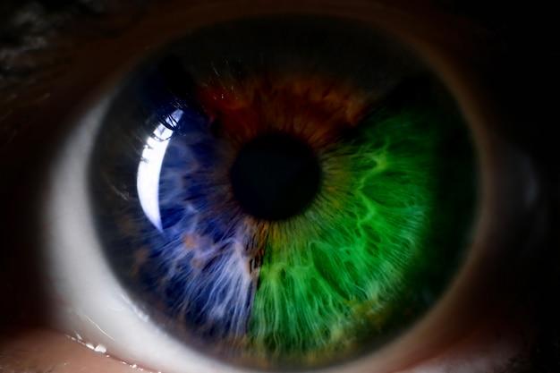 Rode groenachtig blauwe menselijke oog dichte omhooggaande achtergrond