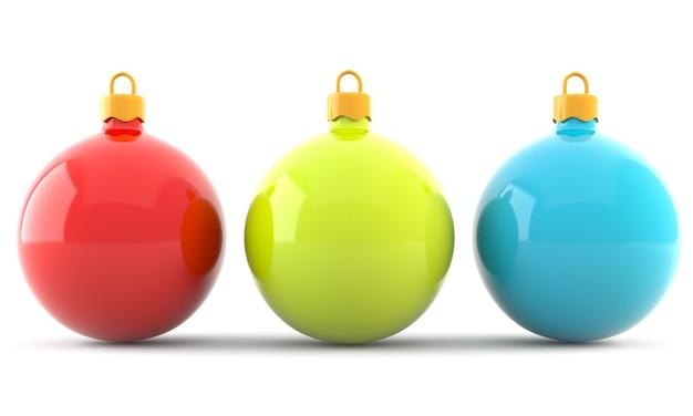 Rode, groene en blauwe kerstballen