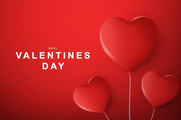 Rode hartballon met een gekleurde achtergrond. valentijnsdag