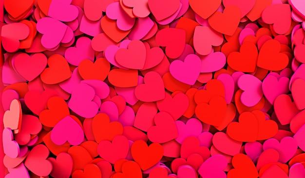 Rode harten. achtergrondtextuur van harten. valentijnsdag. 3d-rendering illustratie
