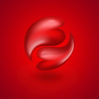 Rode harten als yin yang-symbool op rode achtergrond