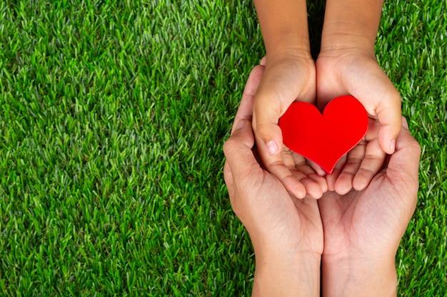 Rode hartvorm in de handen van het familielid het houden