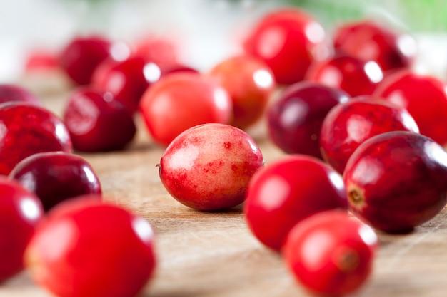 Rode hele zure gezonde veenbessen, rode rijpe hele bessen veenbessen op tafel, zelfgemaakte veenbessen geteeld in een industriële tuin