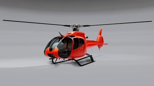 Rode helikopter geïsoleerd op de grijze achtergrond