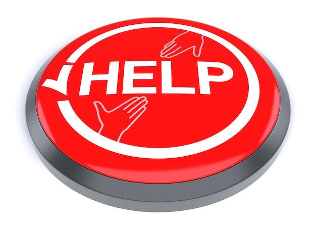 Rode help-knop, geïsoleerd op een witte achtergrond.