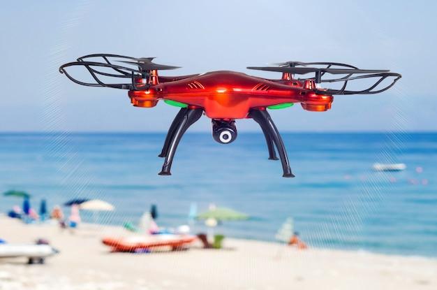 Rode hommel die op het strand vliegt