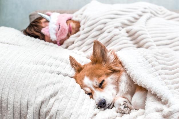 Rode hond slaapt met zijn baasje in een roze slaapmasker op de bank. concept weekend en rust