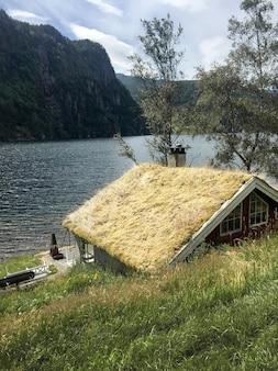 Rode houten huizen met een grasdak in de scandinavische stijl op het meer