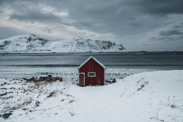 Rode hut op een besneeuwde kust