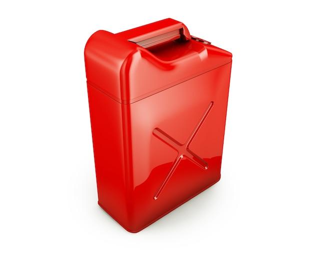 Rode jerrycan geïsoleerd op een witte achtergrond 3d render