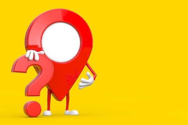 Rode kaart aanwijzer pin persoon karakter mascotte met rood vraagteken teken op een gele achtergrond. 3d-rendering