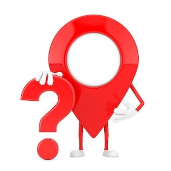 Rode kaart aanwijzer pin persoon karakter mascotte met rood vraagteken teken op een witte achtergrond. 3d-rendering