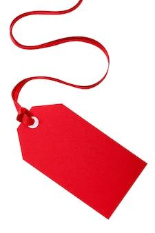 Rode kerst cadeau-tag met een rood lint