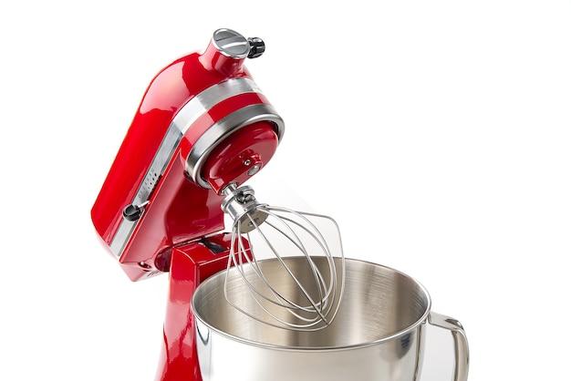 Rode keukenmixer met kom op wit