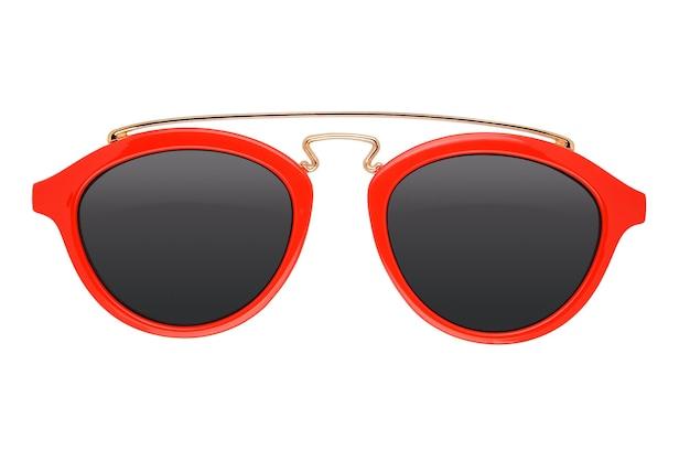 Rode kinder zonnebril geïsoleerd op een witte achtergrond