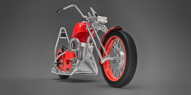 Rode klassieke aangepaste motor geïsoleerd op een grijze achtergrond. 3d-rendering.