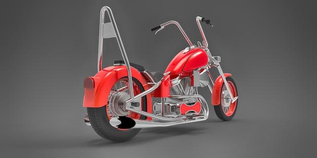Rode klassieke aangepaste motor geïsoleerd op een grijze ondergrond