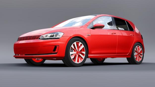 Rode kleine gezinsauto hatchback op grijze achtergrond. 3d-rendering.