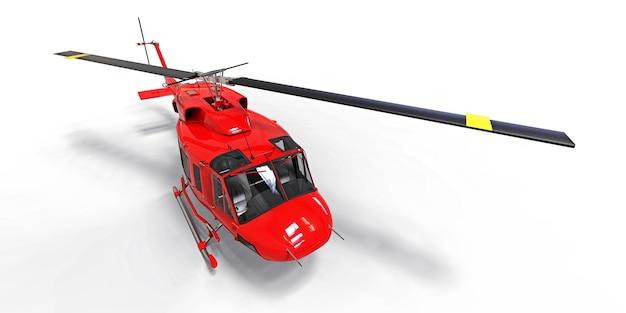 Rode kleine militaire transporthelikopter op witte geïsoleerde achtergrond. de reddingsdienst van de helikopter. luchttaxi. helikopter voor politie, brandweer, ambulance en reddingsdienst. 3d illustratie.