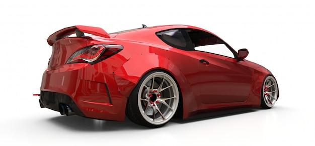 Rode kleine sportwagencoupé. 3d-weergave