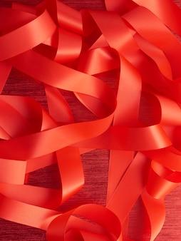Rode kleurenlinten, kerstmisconcept
