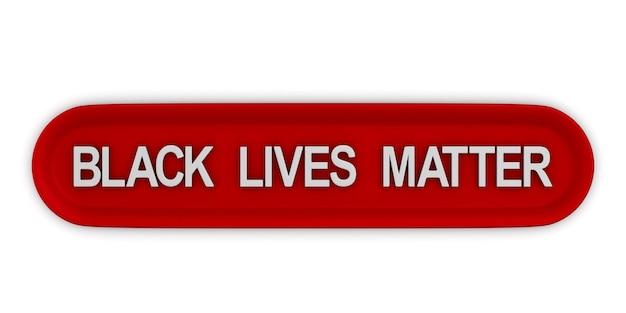 Rode knop met tekst black lives matter. geïsoleerde 3d-weergave