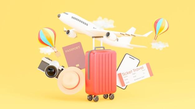 Rode koffer met reisaccessoires en het concept van toerisme in 3d-rendering