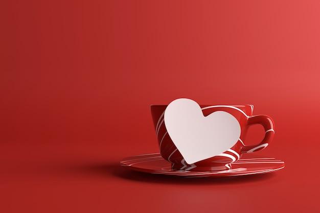 Rode koffiekop met lege nota. 3d-weergave.