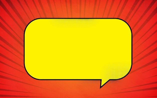 Rode komische zoom van onder met gele tekstballon kleurrijke achtergrond