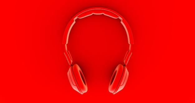 Rode koptelefoon. muziek. 3d render