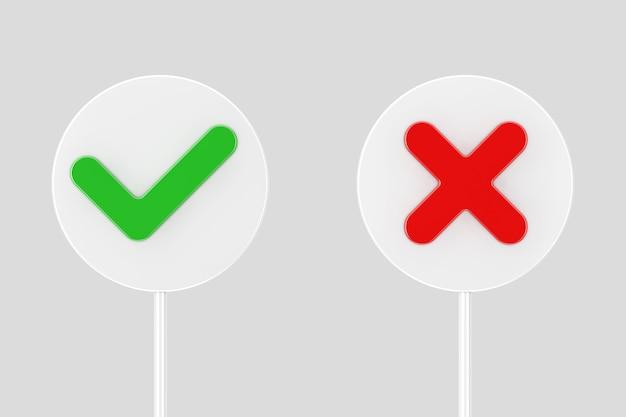 Rode kruis en groen vinkje, bevestigen of weigeren, ja of nee banners pictogram tekenen op een witte achtergrond. 3d-rendering