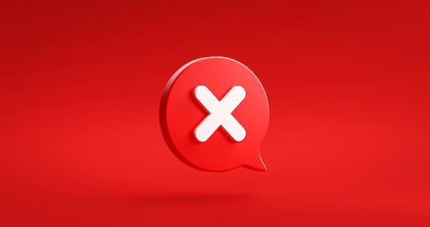 Rode kruis vinkje pictogram knop en geen of verkeerd symbool op afwijzen annuleerteken knop negatieve checklist achtergrond met afwijzen optievak. 3d-weergave.