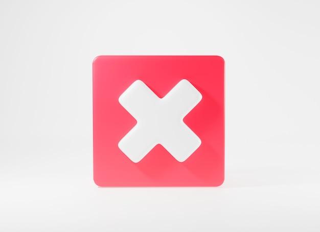 Rode kruisteken symbolen pictogram element symbool nee of x-vorm knop 3d-rendering illustratie