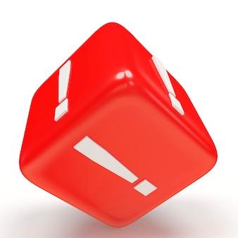 Rode kubus met uitroepteken
