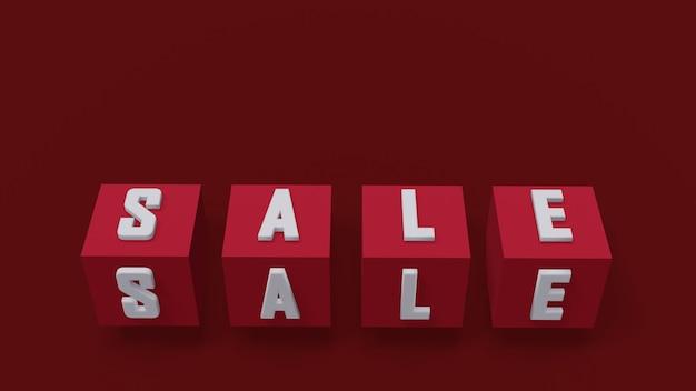 Rode kubussen met verkoopbrieven in wit op rode achtergrond, 3d illustratie, volumetrische kubus
