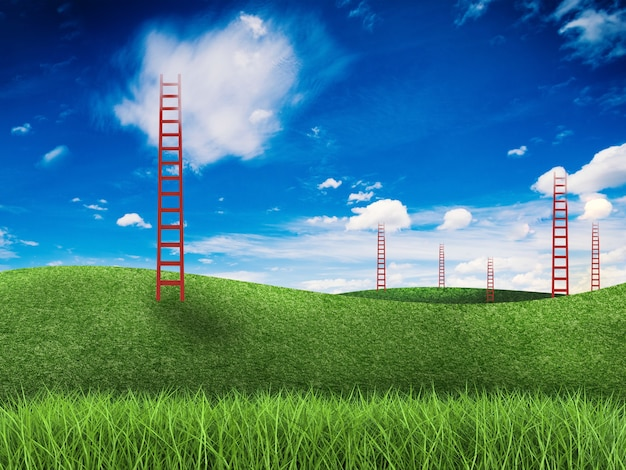 Rode ladder staat tegen de lucht in groen veld
